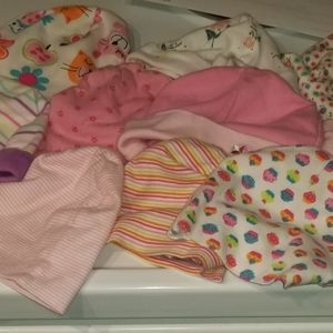 Euc baby girl infant bundle hats/ beanies